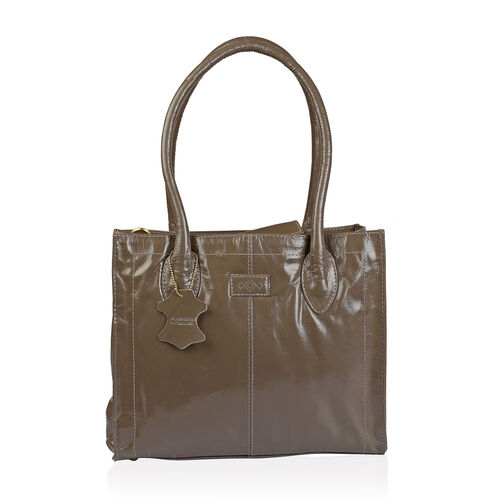 Premium Collection Genuine Leather RFID Blocker Mushroom Colour Shoulder Bag (Size 32X25X12 Cm)
