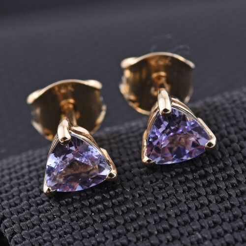 14K Y Gold Rare Natural Pink Tanzanite (Trl) Stud Earrings (with Push Back) 1.000 Ct.