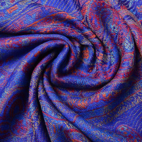 Designer Inspired - Royal Blue, Red and Multi Colour Paisley Pattern Scarf with Tassels (Size 170X68 Cm)