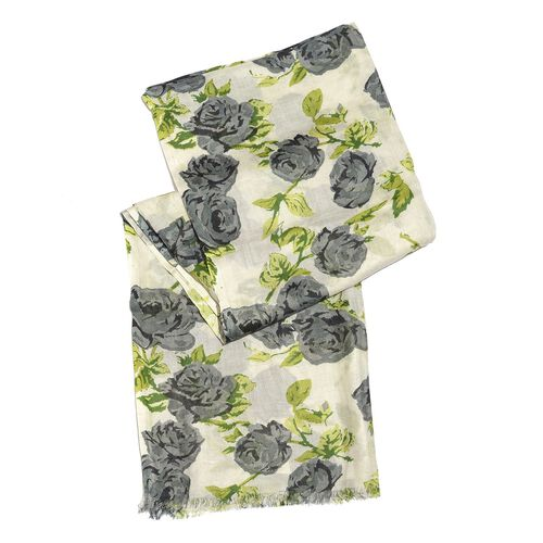 Grey, Green and Cream Colour Rose Flower Printed Scarf (Size 180X110 Cm)