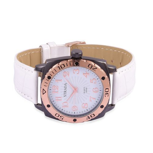 STRADA Japanese Movement White and Rose Gold Colour Dial Water Resistant Watch in Black Tone with Stainless Steel Back and White Strap