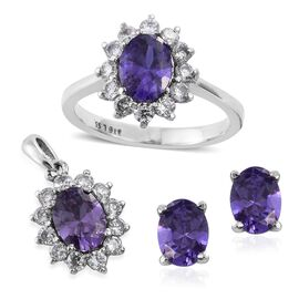 Super Bargin Price - AAA Simulated Tanzanite (Ovl), Simulated Diamond Ring, Pendant and Stud Earrings (with Push Back)