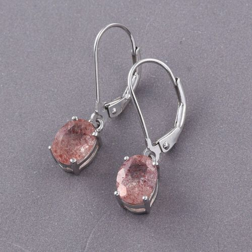 Pink Lepidocrocite Natural Quartz (Ovl) Lever Back Earrings in Platinum Overlay Sterling Silver 2.500 Ct.