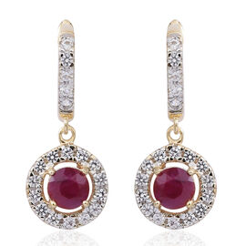 9K Yellow Gold AA Burmese Ruby (Rnd), Natural White Cambodian Zircon Earrings (with Clasp Lock) 2.300 Ct.