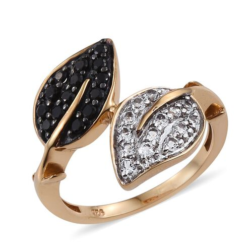 Twin Leaves Boi Ploi Black Spinel, White Topaz Crossover Silver Ring in 14K Gold Overlay 1.000 Ct.