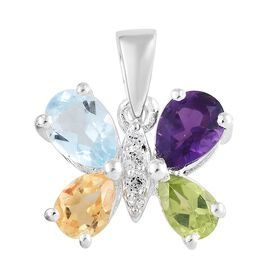 Sky Blue Topaz (Pear), Amethyst and Multi Gemstone Butterfly Pendant in Sterling Silver 2.250 Ct.
