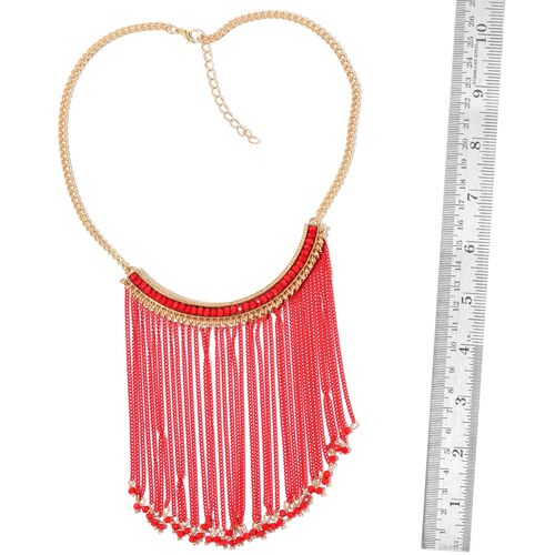 Simulated Coral Red Colour Waterfall Necklace (Size 18 with 2 inch Extender) in Yellow Gold Tone