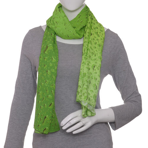 LucyQ Water Drops Digital Printed Green Colour Scarf (Size 180x70 Cm)