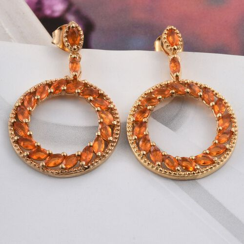 Jalisco Fire Opal (Mrq) Earrings (with Push Back) in 14K Gold Overlay Sterling Silver 2.000 Ct.