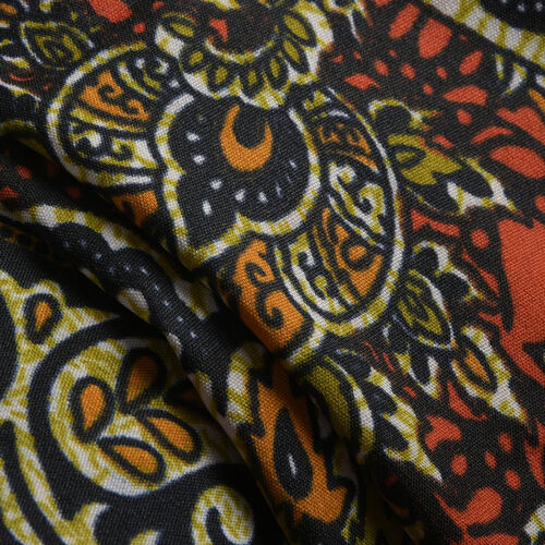 Orange, Green and Multi Colour Damask Printed Kaftan (Free Size)