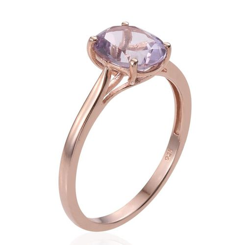 Rose De France Amethyst (Ovl) Solitaire Ring in Rose Gold Overlay Sterling Silver 2.250 Ct.