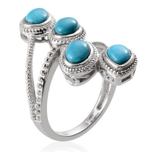 Arizona Sleeping Beauty Turquoise (Ovl) Crossover Ring in Platinum Overlay Sterling Silver 4.300 Ct.