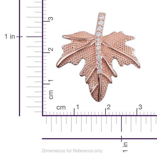 J Francis -18K Rose Gold Bond (Rnd) Leaf Pendant Made with SWAROVSKI ZIRCONIA