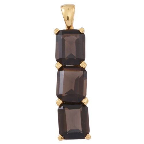 Brazilian Smoky Quartz (Oct) Trilogy Pendant in 14K Gold Overlay Sterling Silver 7.500 Ct.