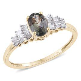 9K Y Gold Natural Green Tanzanite (Ovl 1.00 Ct), Diamond Ring 1.150 Ct.