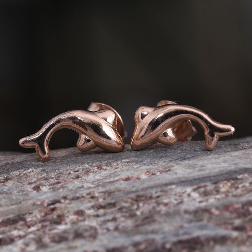 Rose Gold Overlay Sterling Silver Dolphin Stud Earrings (with Push Back)