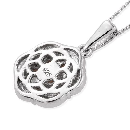 Brazilian Andalusite (Rnd) 7 Stone Floral Pendant with Chain in Platinum Overlay Sterling Silver 0.750 Ct.