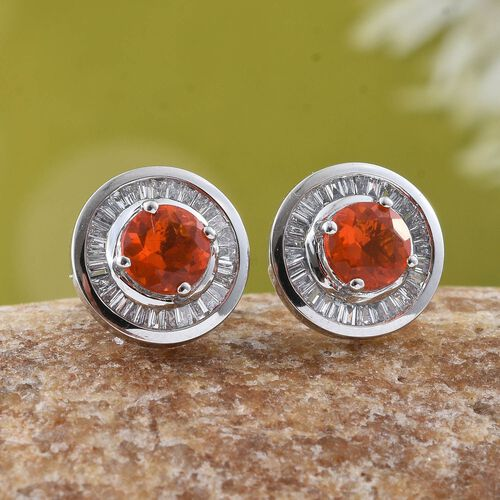 RHAPSODY 1.25 Ct AAAA Jalisco Fire Opal and Diamond (VS/E-F) Stud Earrings in 950 Platinum (with Screw Back)