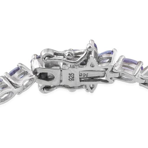 Tanzanite (Ovl), Diamond Tennis Bracelet (Size 7.5) in Platinum Overlay Sterling Silver 9.005 Ct.
