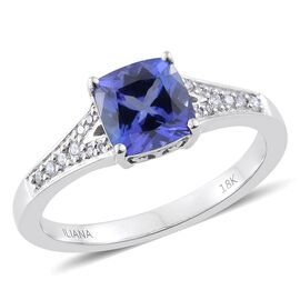 ILIANA 18K White Gold 1.75 Ct AAA Cushion Tanzanite Ring with Diamond SI G-H