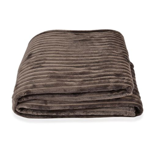 Super Bargain Price- Superfine Grey Colour Microfiber Corduroy Plush Blanket 305X200 cm