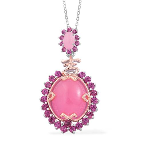 Pink Jade (Ovl 6.00 Ct), Rhodolite Garnet Pendant With Chain in Rhodium Plated and Rose Gold Overlay Sterling Silver 7.800 Ct.