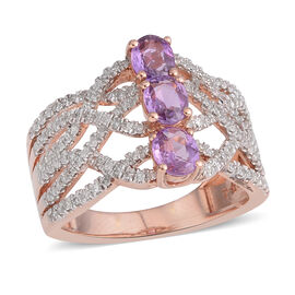 Close Out Deal- 9K Rose Gold Madagascar Purple Sapphire (Ovl), Diamond Ring 1.400 Ct. Gold wt. 5.30 Gms.