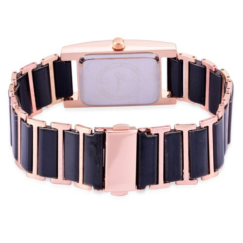 Diamond studded GENOA Black Ceramic Japanese Movement Black Dial Water Resistant Watch in Rose Gold Tone with Stainless Steel Back