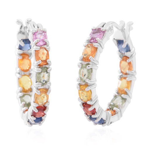 AAA Rainbow Sapphire Hoop Earrings (with Clasp) in Rhodium Plated Sterling Silver 5.500 Ct.