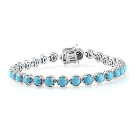 AA Arizona Sleeping Beauty Turquoise (Rnd), Boi Ploi Black Spinel Bracelet (Size 8) in Platinum Overlay Sterling Silver 11.750 Ct.