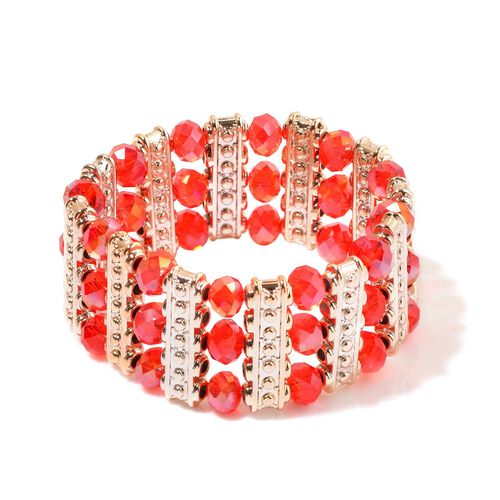 Red Glass and Simulated Stones Stretchable Bracelet (Size 7.5) in Gold Tone