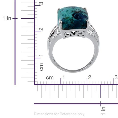 Table Mountain Shadowkite (Cush 18.50 Ct), Sky Blue Topaz and Diamond Ring in Platinum Overlay Sterling Silver 18.790 Ct.