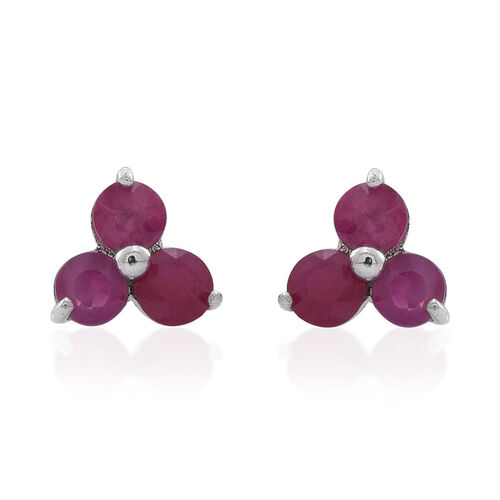 9K W Gold Burmese Ruby (Rnd) Stud Earrings (with Push Back) 1.750 Ct.