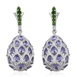 GP Tanzanite (Pear), Russian Diopside and Kanchanaburi Blue Sapphire Earrings (with Push Back) in Platinum Overlay Sterling Silver 5.250 Ct.