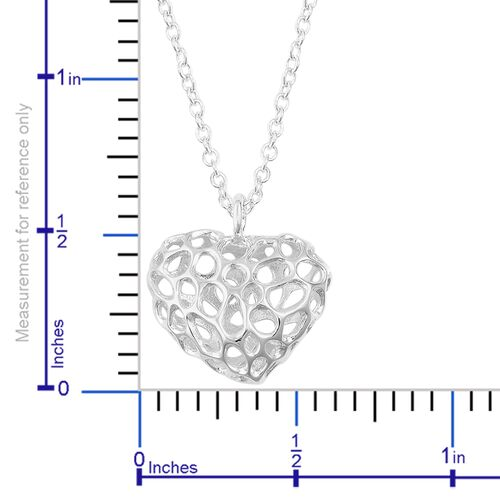 RACHEL GALLEY Sterling Silver Amore Heart Lattice Necklace (Size 20)