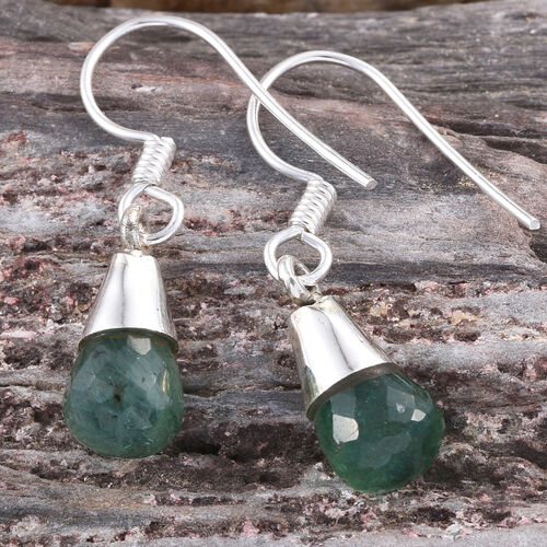 Kagem Zambian Emerald Hook Earrings in Platinum Overlay Sterling Silver 5.040 Ct.