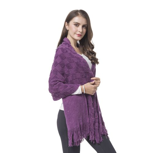 Simulated Pearl Embellished Purple Colour Checker Pattern Knitted Shawl with Tassels (Size 180X50 Cm)
