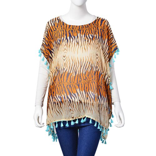 Orange, Blue and Multi Colour Tiger Pattern Poncho with Tassels (Size 70X65 Cm)