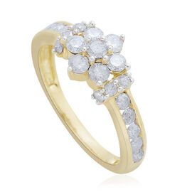 9K Yellow Gold 1 Carat Diamond Floral Ring SGL Certified I3 G-H