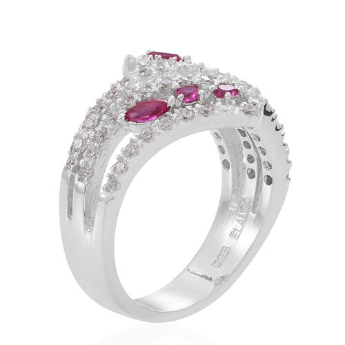 ELANZA AAA Simulated Ruby (Mrq), Simulated White Diamond Ring in Rhodium Plated Sterling Silver