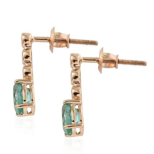 ILIANA 18K Yellow Gold AAA Boyaca Colombian Emerald (Ovl), Diamond (SI/G-H) Earrings (with Screw Back) 1.000 Ct.