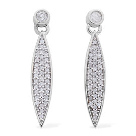 9K White Gold 0.50 Carat Diamond Pave Sleek Drop Earrings SGL Certified I3 G-H