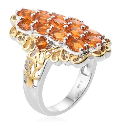 Jalisco Fire Opal (Ovl) Ring in Platinum and Yellow Gold Overlay Sterling Silver 2.00 Ct.