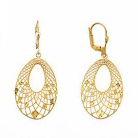Italian Made - 9K Yellow Gold Diamond Cut Drop Lever Back Earrings.Gold Wt 3.01 Gms