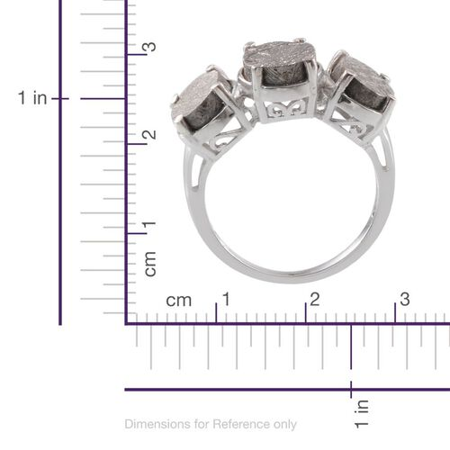 Meteorite (Ovl 6.00 Ct) 3 Stone Ring in Platinum Overlay Sterling Silver 15.500 Ct.