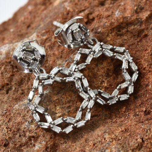 Diamond (Bgt) Circle Earrings in Platinum Overlay Sterling Silver 0.335 Ct.