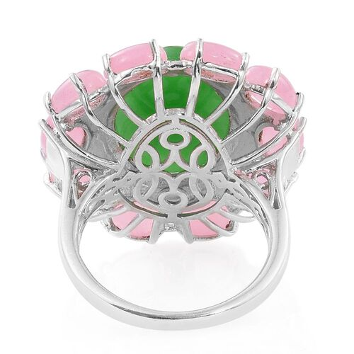 Green Jade (Ovl 14.05 Ct), Pink Jade Ring in Platinum Overlay Sterling Silver 24.750 Ct. Silver wt 7.20 Gms.