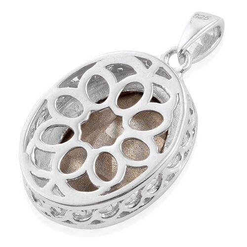 J Francis Crystal from Swarovski - Light Rose Crystal (Ovl) Solitaire Pendant in Platinum Overlay Sterling Silver