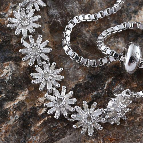Diamond (Rnd) Adjustable Floral Bracelet (Size 7 to 9) in Platinum Overlay Sterling Silver 0.750 Ct. Silver wt 7.20 Gms.