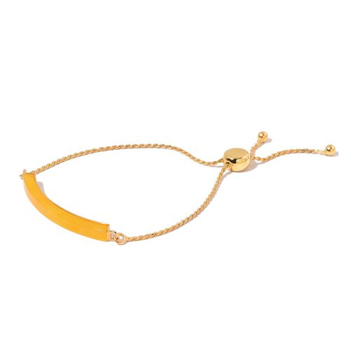 Yellow Jade Adjustable Bracelet (Size 6 to 8) in Yellow Gold Overlay Sterling Silver 6.750 Ct.